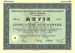 Aktie der Vereinigten Isolatorenwerke AG Pankow bei Berlin