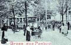 Triebwagen der Siemensbahn in der Kreuzstraße Pankow