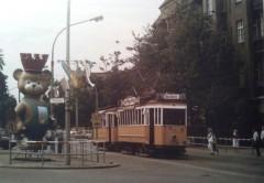 Historische Waagen 5256 und 958 im August 1987 in der Schönholzer Straße in Pankow