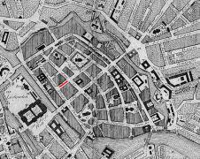 historischer Stadtplan von Berlin mit Markierung der Pankowsgasse